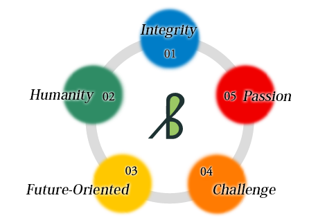 1. Integrity 2. Humanity 3. Passion 4. Future-Oriented 5. Challenge